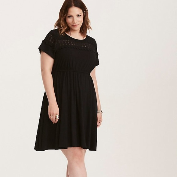 79e190a604d TORRID Black Lace Inset Jersey Knit Skater Dress